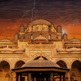 Historical Mosque in Istanbul by Fahad Iqbal - Digital Art Places ( lightning, sunset, mosque, horizon, flare, golden hour )