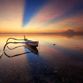 Morning Reflection  by Yudik Pradnyana - Transportation Boats ( bali, roll, sky, waterscape, sunrise, boat, landscapes )
