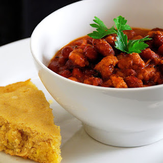 Three-Bean Beef Chili with Honey Cornbread