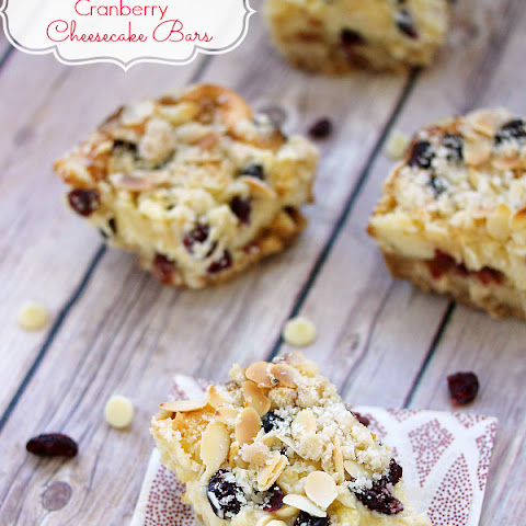 White Chocolate Cranberry Cheesecake Bars