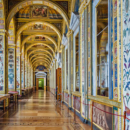 The Hermitage Museum  St. Petersburg  by Graham Mulrooney - Buildings & Architecture Other Interior ( interior, building, arch, the raphael loggias, art, murals, the hermitage, museum, hermitage, st. petersburg, rusia, ceiling, horizontal, arches, inside, paintings, culture,  )