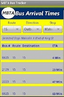 Screenshot of MBTA Bus Tracker