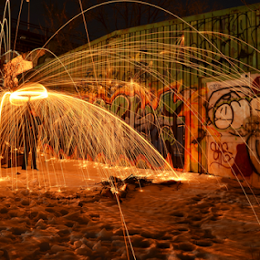 Graffiti Steel Wool by James Reil - Abstract Light Painting ( light painting, steel wool, graffiti, sparks, painting, wool, fire,  )