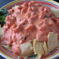 Ryan's Ravioli With Shrimp and Tomato-Cream Sauce