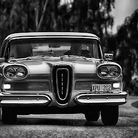 Taking the Edsel for a cruise... by Alexander Arntsen - Transportation Automobiles ( car, edsel, sweden, b&w, black and white, automobile, american, street, wheels, front, road )