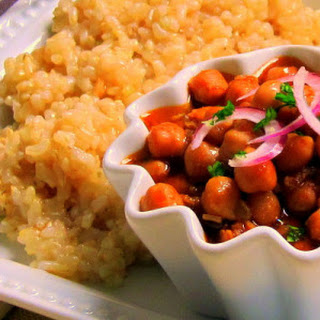 Chickpea Curry with Brown Rice - pressure cooker one pot meal