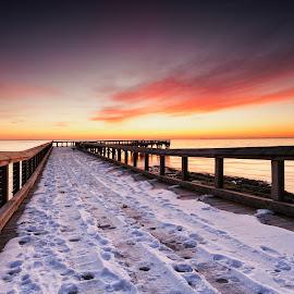 winter slide by Edward Kreis - Landscapes Weather ( pasadena, john downs park, dawn, winter, snow, maryland, pier, slippery, chesapeake bay, sunrise, pinehurst )