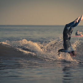 Handstand by Justin Brady - Sports & Fitness Surfing ( surfing, waves, summer, nh, ocean, longboard, surf, rye,  )