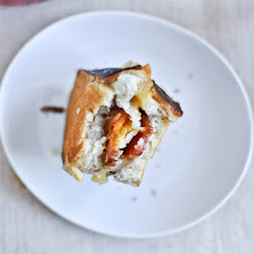 Peach, Bacon + Gouda Grilled Cheese Sliders on Pretzel Bread