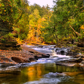 Presque Isle River by Kirk Schleife - Landscapes Waterscapes ( color, waterscape, falls, fall, river,  )