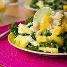 Tropical Mango, Banana, & Pineapple Kale Salad with Creamy Pineapple Lime Coconut Dressing