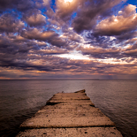 Take my breath away by Sushmita Sadhukhan - Landscapes Cloud Formations ( water, harbor, park, jetty, yellow, drama, morning, missing you, red, sky, blue, sunset, cloud, standing alone, evening )