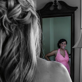 Bridesmaids by Morgan Jacques - Wedding Getting Ready ( mirror, dressing, reflection, opposites, bridemaids, dress, wedding, outfit )