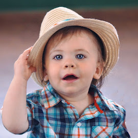 Happy Birthday Young Man by Cheryl Korotky - Babies & Children Child Portraits ( child, birthday, model, amazing child portraits, a heartbeat in time photography, blue eyes, handsome, boy, straw hat )