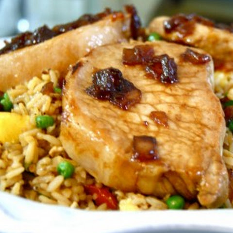 Sweet Soy Glazed Pork Chops with Pineapple Fried Rice