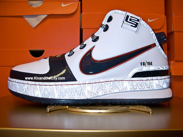 Nike LeBron 6 Witness Gold Sneakers (White/Obsidian-Sport Red)