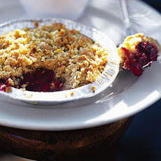 Individual raspberry and almond BBQ crumbles