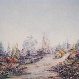 Monet Me by Rhonda Lee - Painting All Painting ( garden path, unique, flowering, pointilism, impressionist, art, shrub, dabs, fun, landscape, tree, rokinronda, scene, painting, garden )