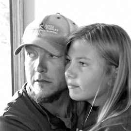 Dad and Daughter by Donald Henninger - Novices Only Portraits & People ( relationship, love, natural light, black and white, family, daughter, candid, celebration, relaxing, portrait, father )