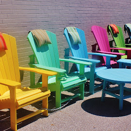 Summer Chairs by Tina Stevens - Artistic Objects Furniture ( shop, colorful, chairs, green, yellow, table, furniture, sun, colour, chair, colourful, market, blue, color, sunny, adirondack style, pink, pillows, sidewalk, , Chair, Chairs, Sitting )