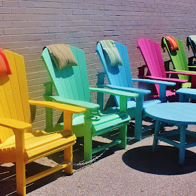 Summer Chairs by Tina Stevens - Artistic Objects Furniture ( adirondack chairs, shop, moods, chairs, colorful, yellow, vibrant, furniture, sun, colour, inspiration, colourful, sunny, january, emotions, adirondack style, pink, green, happiness, table, chair, market, sitting, blue, color, pillows, sidewalk, mood factory,  )