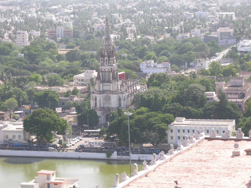 View from Trichy Rock Fort temple - tank