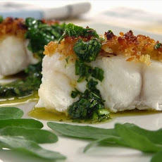 Roasted Halibut With Fresh Herb Sauce