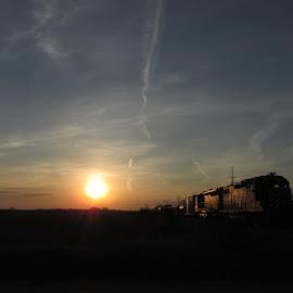 Freight Train At Sunrise - 1 by Howard Sharper - Transportation Trains ( freight trains, transportaion, train, sunrise, landscape )