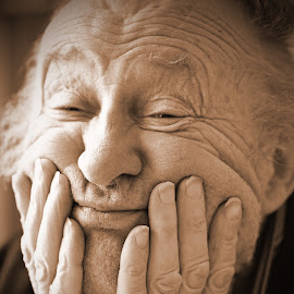Thinking Old Man by Marco Bertamé - People Portraits of Men ( face, sepia, hands, thinking, fingers, elderly, portrait, man )