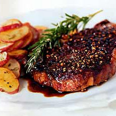 Rib-Eye Steak au Poivre with Balsamic Reduction