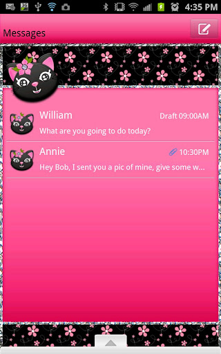 GO SMS - Kitty Flower Cat