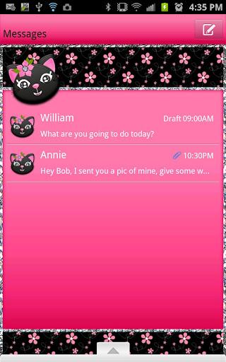 GO SMS - Kitty Flower Cat