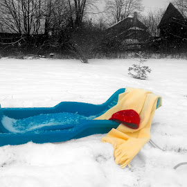 Winter Wonder by Paul Cleath - Sports & Fitness Snow Sports ( winter, cold, barn, winter fun, snow, scarf, sled, selective color, pwc )