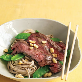 Asian Noodle Bowls with Steak and Snow Peas