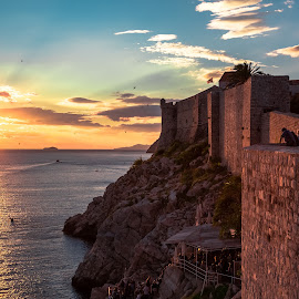 Walled Sunset by Stephen Bridger - City,  Street & Park  Historic Districts ( adriatic, europe, dubrovnik, sunset, croatia, sea, ocean, travel, walled city, travel photography )