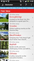 Screenshot of SiteSeeker Campsite Finder