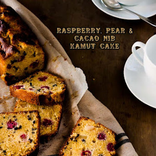 Raspberry, Pear and Cacao Nib Kamut Cake