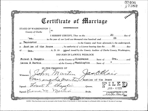 Records marriage licence