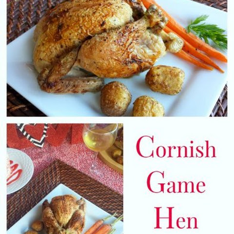 Cornish Game Hens with Honey & Raspberry Puree