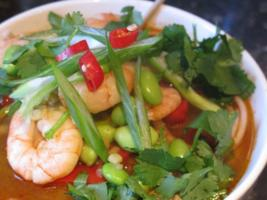 Hot Shrimp and Edamame Udon Soup