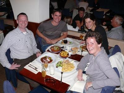Hubert, Antony, Renate & Corine dining in Middelburg
