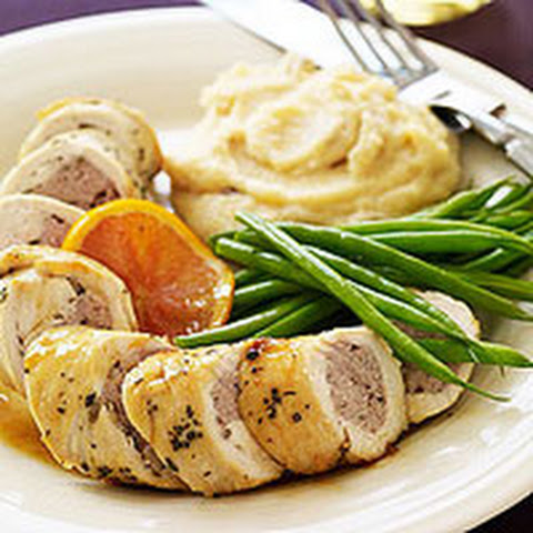 Sausage-Stuffed Chicken Breasts with Marsala and Cranberry-Orange Polenta