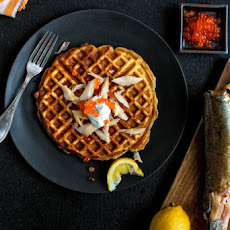 Potato Waffles With Smoked Trout