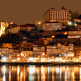 Porto by night by Antonio Amen - City,  Street & Park  Vistas ( river douro, night, porto )