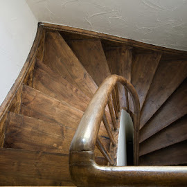 Wooden stair by Kim Mortensen - Buildings & Architecture Other Interior ( iceland, stair, wood, handrail, brown,  )