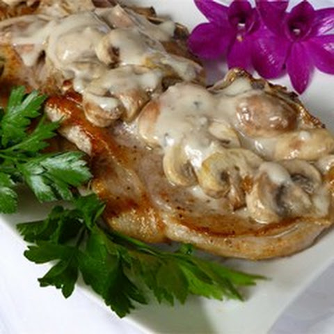 Pork Cutlets With Creamy Mushroom And Caramelized Shallot Sauce Recipe ...