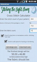 Screenshot of Cross Stitch Fabric Calculator