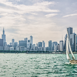 chicago harbor by Paul Geilfuss - City,  Street & Park  Skylines ( water, harbor, sailing, chicago, great lakes,  )