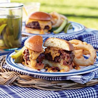 Stuffed Barbecue Burgers with Beer-Cheddar Fondue