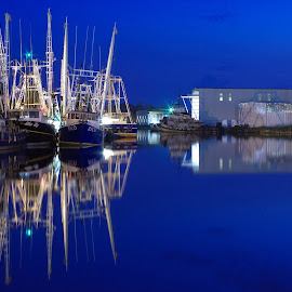 The Blues by Jim Howton - Transportation Boats ( fleet, lights, blue, shrimp, boats, dark, morning )